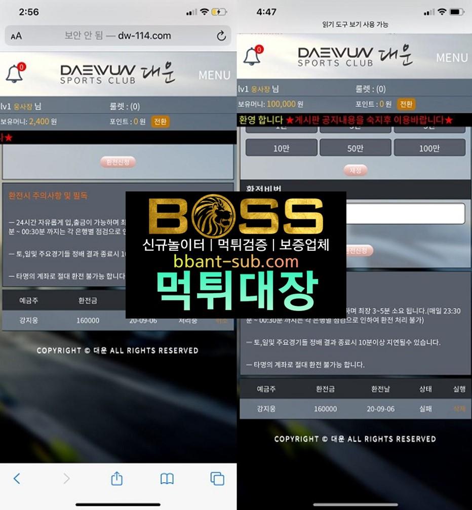 대운 먹튀 DW-114.COM DAEWUN 먹튀확정 먹튀검증 토토사이트